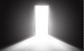 Open the door in a dark room with light passing through it. Light enters through the gap on a transparent background.
