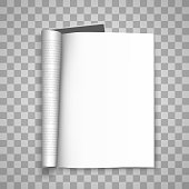 Open the paper journal, Paper Journal, Blank magazin transparent background, Page template design element . Vector illustration