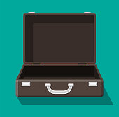 Open vintage suitcase for travel. Retro case for luggage. Empty bag, box, container for goods. Vector illustration in flat style