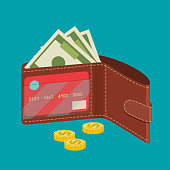 Open wallet with card, cash and coins. Vector flat style illustration