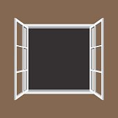 Open window frame icon. Add your own image or text. Vector illustration of an open window.
