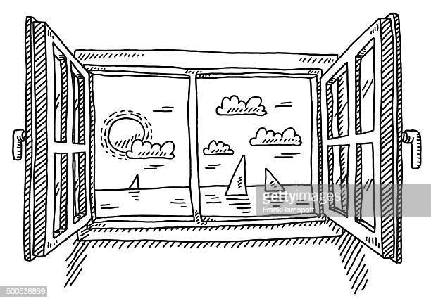 Illustrations et dessins anim s de fen tre getty images for Fenetre ouverte dessin