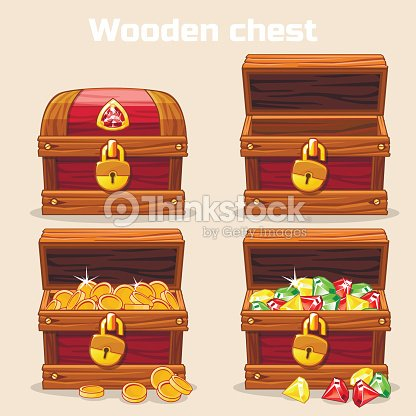 opened and closed chest with coins diamonds ベクトルアート thinkstock