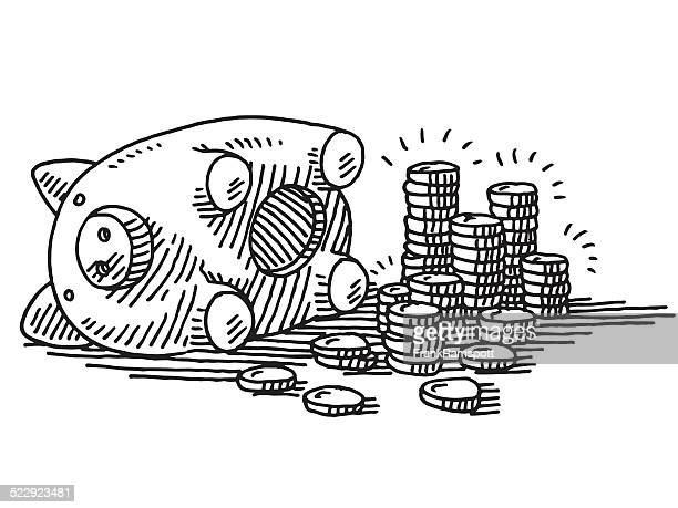 Opened Piggy Bank Coins Savings Drawing