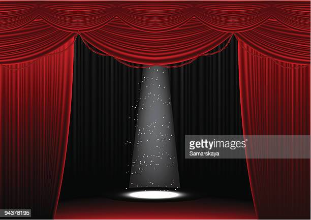 Opened red curtain with spotlight shining on empty stage