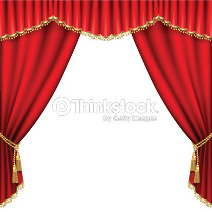 Opened Red Theater Curtains On A White Background Stock