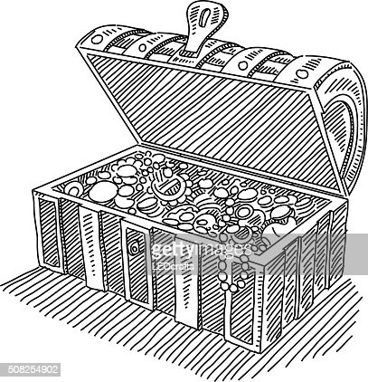 Opened Treasure Chest Drawing Vector Art | Getty Images