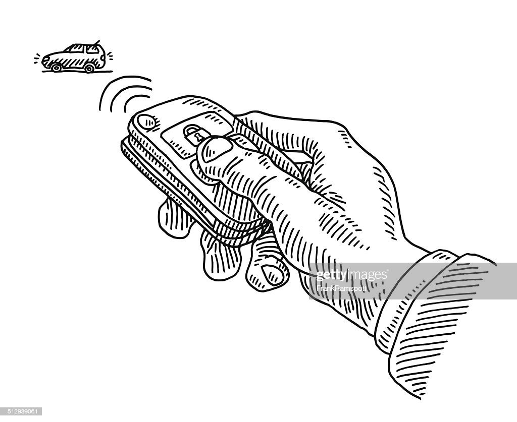 remote control drawing. opening car remote control key hand drawing : vector art