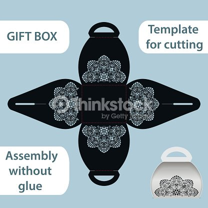 openwork gift paper box with a handle lace pattern assembly without