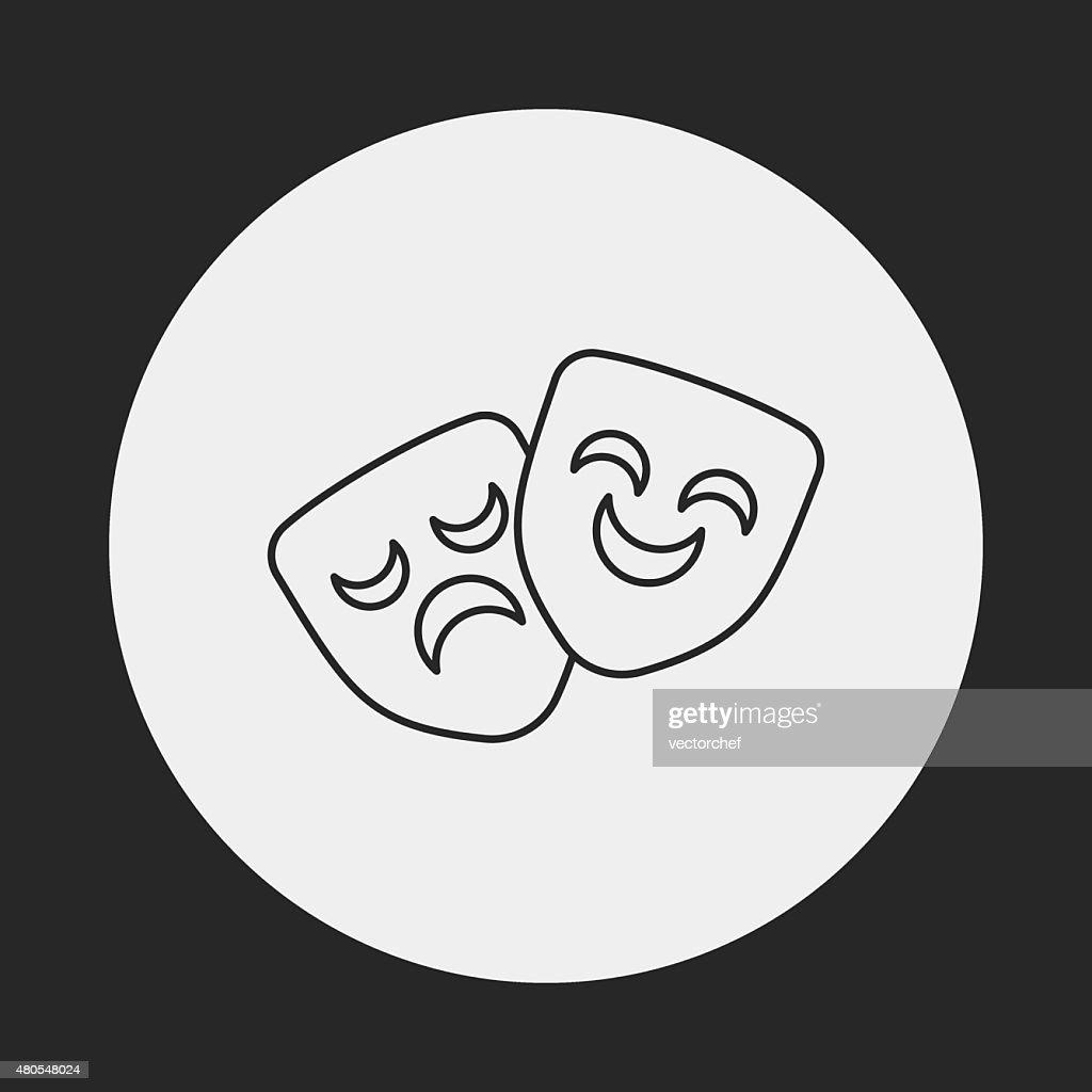 opera mask line icon : Vector Art