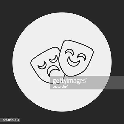 Ópera Máscara de ícone de linha : Arte vetorial