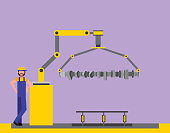 operator factory automotive robotic arm connecting rod  vector illustration