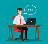 Operator of call center office consulting a client. Online customer service concept.