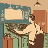 Operator controlling the correct execution of the process retro vector illustration