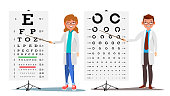Ophthalmology Doctor Set Vector. Female, Male. Medical Eye Diagnostic. Eye Test Chart In Clinic. Diagnostic Of Myopia. Medicine Concept. Isolated Illustration