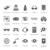 Ophthalmology, eyes health care glyph icons. Optometry equipment, contact lenses, glasses, blindness. Vision correction signs for oculist clinic. Solid silhouette pixel perfect 64x64.