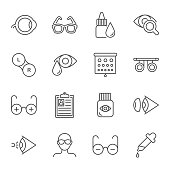 Ophthalmology vector icons set