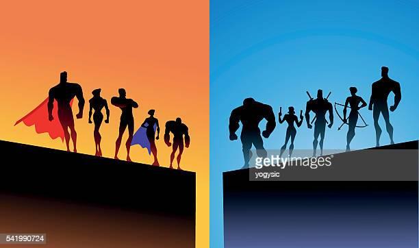 Opposing superheroes team