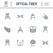 Optical fiber flat line icons. Network connection, computer wire, cable bobbin, data transfer. Thin signs for electronics store, internet services. Editable Strokes.