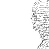 Optical Head Wireframe Illustration, Vectors