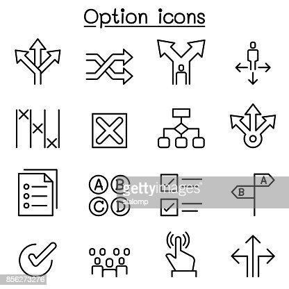 Option icon set in thin line style : stock vector