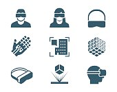 VR or virtual reality, augmented reality and hologram technology vector icon set