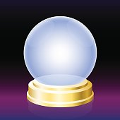 Oracle crystal ball - empty glass globe for fortune telling.