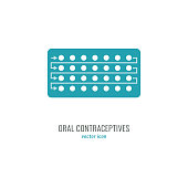 Women hormonal pills. Oral contraception icon. Vector illustration isolated on white background.