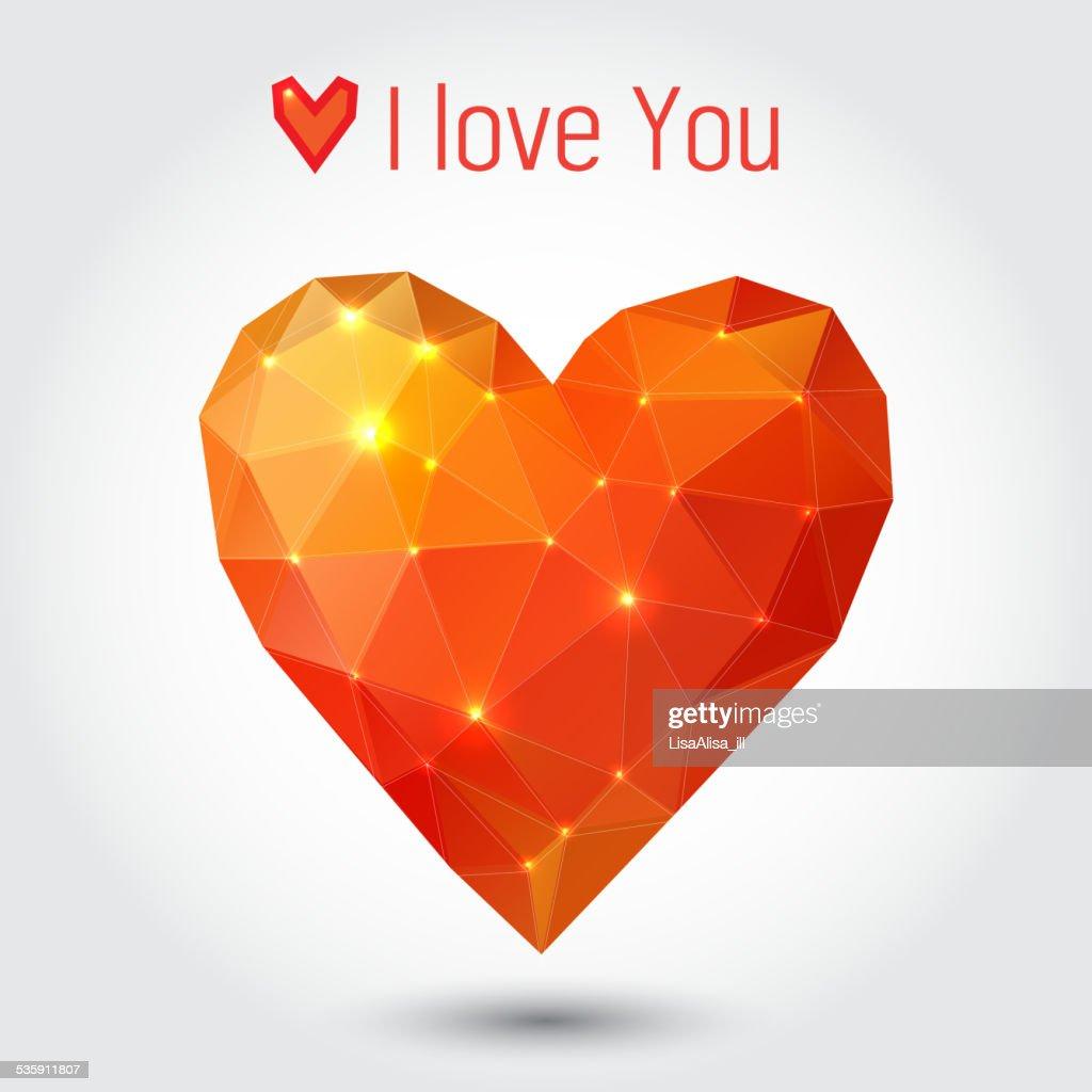 Orange und rote Dreieck Herz : Vektorgrafik