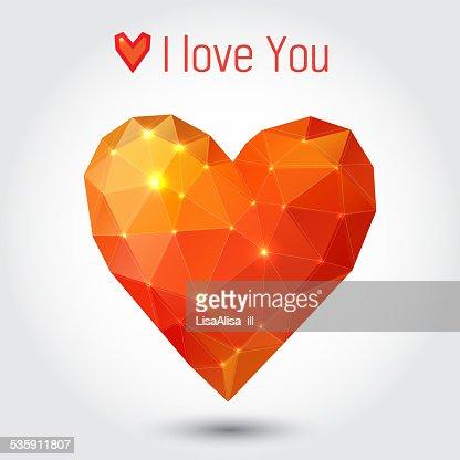 Laranja e triângulo vermelho Coração : Arte vetorial