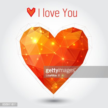 Orange and red triangle heart : Vector Art