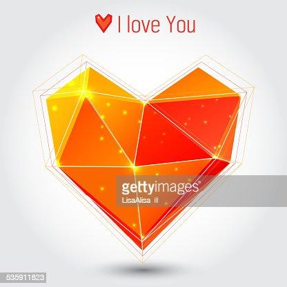 Corazón naranja y roja triangle : Arte vectorial