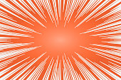 Orange and white radial lines comics style backround. Manga action, speed abstract. Vector illustration