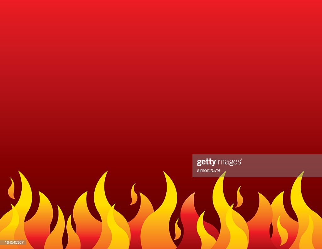 orange and yellow flames border red background vector art