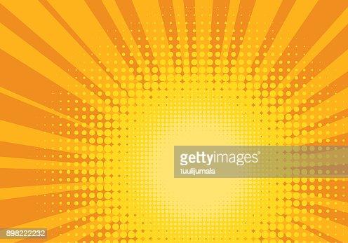 オレンジ色と黄色のポップ アート背景 : ベクトルアート