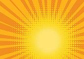 Orange and Yellow Pop Art Background. Positive joyful backdrop. Halftone sun design template. Vector Illustration.