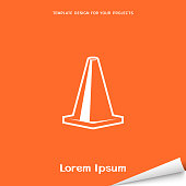Orange banner with road cone icon. Vector illustration