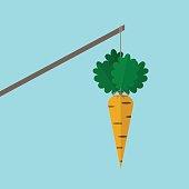 Orange carrot hanging on stick on blue background. Incentive, motivation concept. Flat design. Vector illustration. EPS 8, no transparency