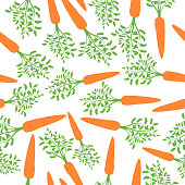Orange Carrots Silhouette Seamless Pattern. Vector illustration