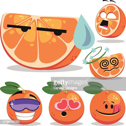 Set de dessin anim orange clipart vectoriel getty images - Orange dessin ...