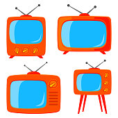 Orange cartoon various retro tv set isolated on white background. Media theme vector illustration for icon, sticker sign, patch, certificate badge, gift card, label, poster, web banner, flayer