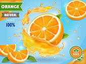 Orange juice ad. Realistic fruits in juicy splash package design.
