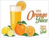 Orange juice and slices of orange and lemon