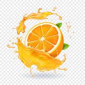 Orange juice in splash. Realistic 3d fruit vector.
