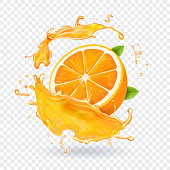 Orange juice in splash. Realistic 3d fruit vector.