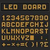 Orange LED digital english uppercase font, number and mathematics symbol display on black background