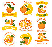 Orange slice products emblems. Cartoon dessert oranges with green leaves fruits graphic icon set isolated on white background