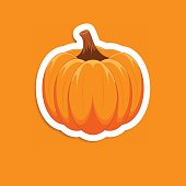 Orange pumpkin sticker on white background.