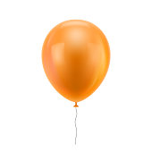 Orange realistic balloon. Orange inflatable ball realistic isolated white background. Balloon in the form of a vector illustration