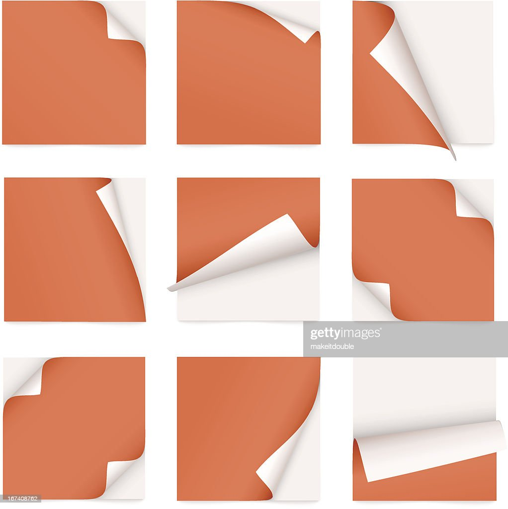 orange set of note paper with curled corner : Vector Art